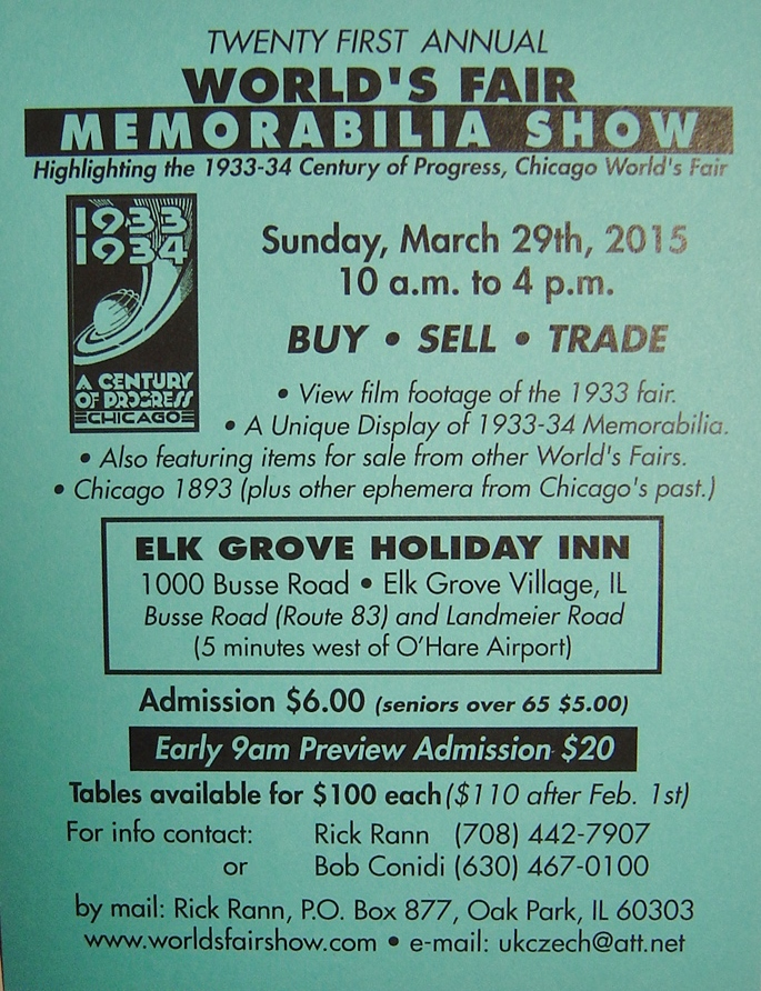 Worlds Fair Century of Progress 2015 Memorabilia Show